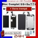 BLOC COMPLET VITRE TACTILE ECRAN LCD IPHONE 6/6 plus/6s/6s+/7/7+/8/8+ NOIR/BLANC